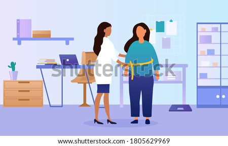 Patient consulting with a doctor over obesity in her surgery being measured round the waist with a tape, colored vector illustration Сток-фото ©