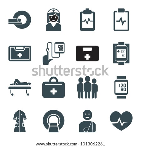 Patient icons. set of 16 editable filled patient icons such as heartbeat clipboard, medical kit, blood pressure measure, nurse gown, first aid kit, heartbeat, mri