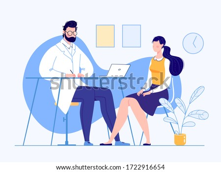 Patient in the doctor's office. Doctor consultation. Visit. Modern clinic. Diagnosis. Vector flat cartoon illustration. Doctor appointment.
