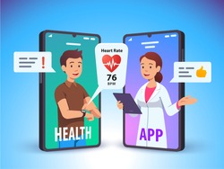 Patient talking to doctor using cell phone video call over his heartbeat rate data collected via smart watch app technology. Modern medical consultation, health care concept. Flat vector illustration