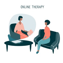 Patient talking to psychologist. Psychotherapy counseling. Online therapy session. Flat vector graphic