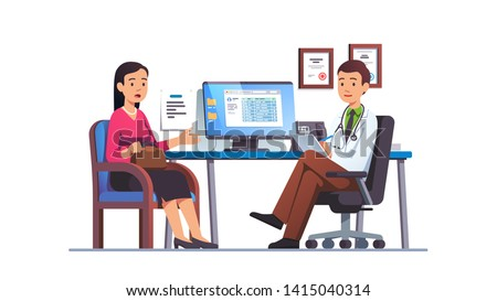 Patient woman talking to primary care physician man at hospital office. Clinic appointment meeting with doctor, having conversation with medic about checkup results. Flat vector character illustration
