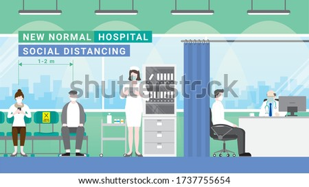 Patients are queuing for doctor. At doctor's office waiting room in hospital section. Protect pandemic covid-19 corona virus. New normal is social distancing and wearing mask.
