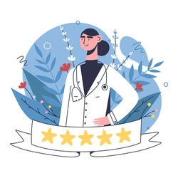 Patients evaluate doctors review and rating via mobile app. Choosing top rated doctor for treatment. Online healthcare hospital or clinic, visit planner, first aid website concept.