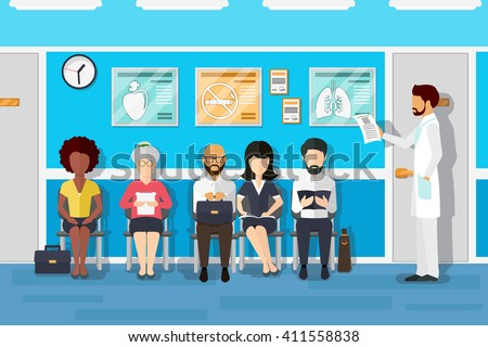 Shutterstock Patients in doctors waiting room in hospital, office interior clinic. Vector illustration