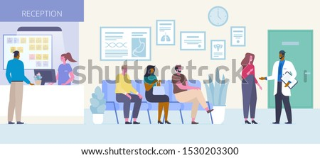 Patients in hospital hall flat vector illustration. People sitting in queue, waiting for doctors appointment in clinic reception area cartoon characters. Medicine and healthcare concept