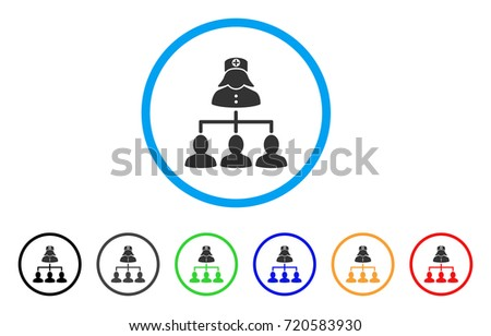 Patients Nurse Hierarchy rounded icon. Style is a flat patients nurse hierarchy gray symbol inside light blue circle with black, gray, green, blue, red, orange color versions.