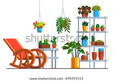 Patio interior design with rocking chair, metal rack, room plants in pots and hanging baskets. Home garden orangery decoration & furniture. Flat style vector illustration isolated on white background.