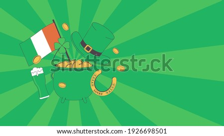 Patrick 's Day. Pot of Gold, Flag of Ireland, Beer, Coins, Luck Horseshoe, Leprechaun Hat, Four Leaf Clover on the Green Rays Background. Template for Banner, Poster or Flyer. Happy Saint Patrick 's D Foto stock ©