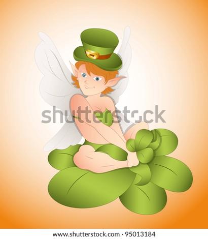 Patrick's Girl Sitting on Clover Leaf-St. Patrick's Day Cartoon Vector Illustration