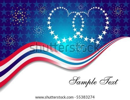Patriotic Background with Interlocked Hearts of Stars