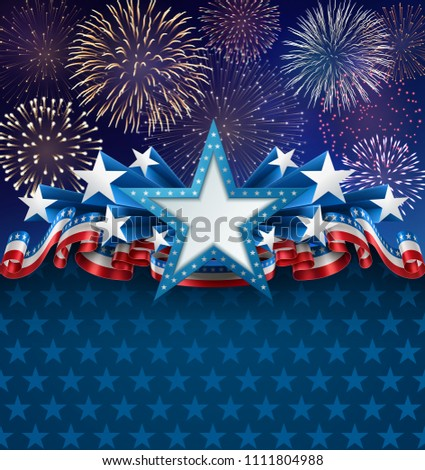 Patriotic background with star shape banner, fireworks and ribbons, EPS 10, contains transparency. #1111804988