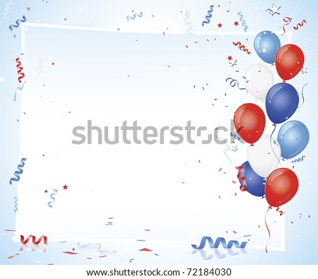 Patriotic balloon and confetti burst with paper bordered copy space in center