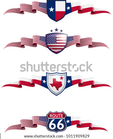 Patriotic Banner Set. Vector graphic badges and flags representing Texas State