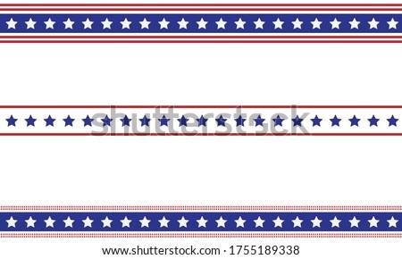 Patriotic border divider american usa flag.