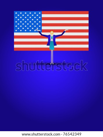Patriotic business woman standing in front of American flag with arm up in the air on a background of blue.Available as a vector art or .jpg
