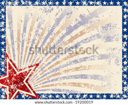 Patriotic Frame with Stars and Grunge. Grunge grouped for easy removal
