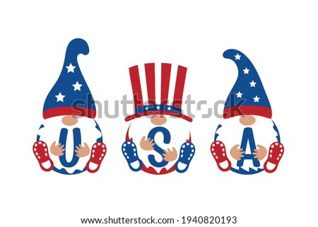 Patriotic Gnome set with USA sign on white background. Scandinavian Nordic Gnomes to celebrate 4th of July Day. Trendy Gnomes for greeting card, t shirt print, web design. Vector illustration.