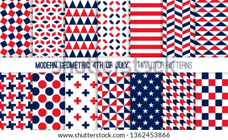 Patriotic Red White Blue Modern Geometric Vector Patterns. Bold Prints for 4th of July Party Decor. Independence Day Holiday Backgrounds. Repeating Pattern Tile Swatches Included.