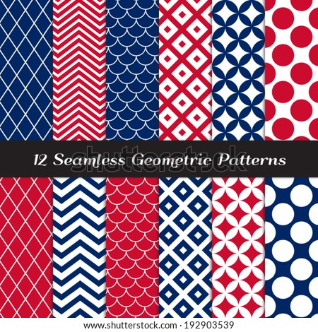 Patriotic Red, White & Blue Retro Geometric Seamless Patterns. July 4th Backgrounds in Jumbo Polka Dot, Diamond Lattice, Scallops, Quatrefoil and Mod Chevron. Pattern Swatches made with Global Colors.