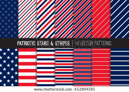 Patriotic Red White Blue Stars & Stripes Vector Patterns. July 4th Independence Day Backgrounds. Diagonal and Horizontal Striped Textures. Variable Thickness Lines. Pattern Tile Swatches Included.