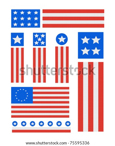 Patriotic Ribbed Fabric USA Vector Icon set isolated on white