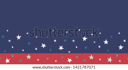 Patriotic scattered stars seamless border in red white and blue. Great for American holidays that honor Independence Day, Veterans, parades and celebrations. Banners, ribbon, graphic design uses.