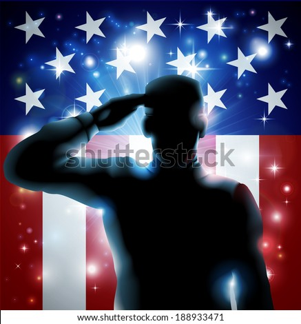 Patriotic soldier or veteran saluting in front of an American flag background
