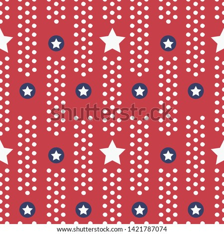 Patriotic stars seamless vector border in red white and blue. Great for American holidays that honor Independence Day, Veterans, parades and celebrations. For banners, textiles, graphic design uses.