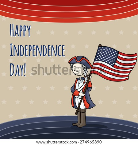 Patriotic USA background with Cartoon man celebrating Independence Day wearing a national costume and holding a flag. Cute American boy in a 4th of July dressed like soldier. Vector illustration.