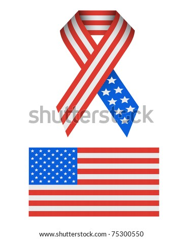 Patriotic Vector USA ribbed ribbon texture Icons isolated on white