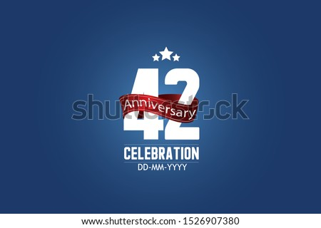 Patriotic 42 year anniversary celebration white color number USA Style Red ribbon on Blue Background for celebration, logo, wedding, banner card - vector