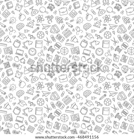 Pattern back to school and education with modern thin line icons school supplies on white background. Vector Illustration