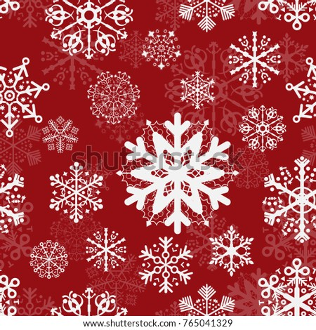 pattern background red snowflakes
