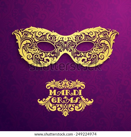 Pattern background with ornate golden mask Mardi Gras Vector illustration