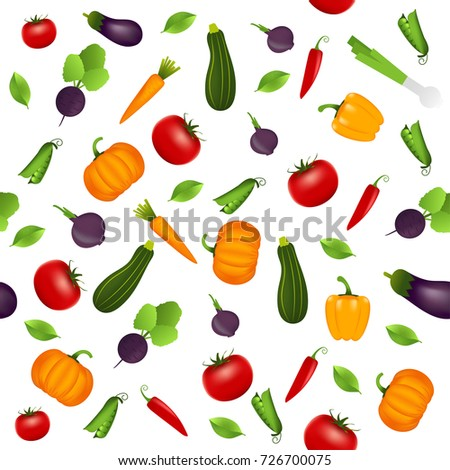 Pattern background with vegetables. Design for greeting card, summer invitation, trendy fabric, simple ornament, texture template, stylish layout. Vector illustration. #726700075
