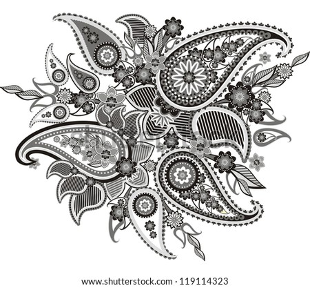pattern based on traditional Asian elements Paisley