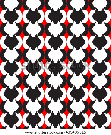 pattern black and white cats on