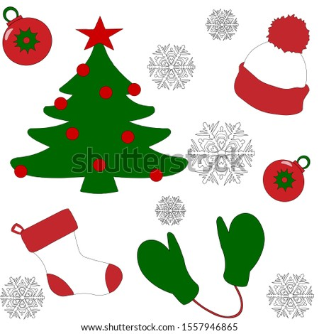 Pattern. Celebration new year. Texture. Seasonal holiday. Color background. Winter . Retro design collection. Symbol collection. Christmas tree card background