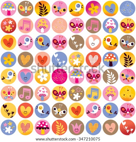 pattern circles cute hearts birds flowers mushrooms nature design elements