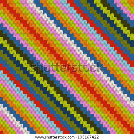 Pattern colorful with knitted zig zag