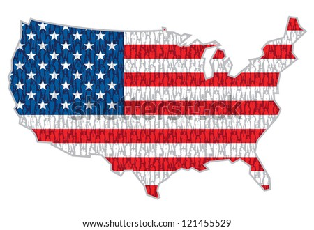 Pattern - crowd of people in national flag over US map. - stock vector