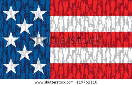 Pattern - crowd of people in national US flag.