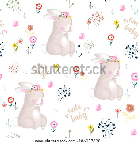 Pattern cute rabbit baby with flowers.Bright flowers on white background Stockfoto ©