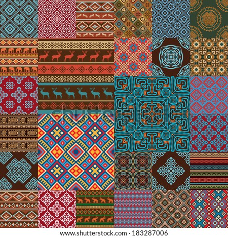 Pattern decoration elements in bright red, blue, brown, green, white... colors. Most popular ethnic seamless textures in one mega pack set collections. Multicolored vector illustrations.