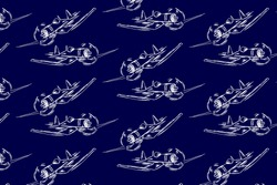 Pattern design with hand drawn airplanes. Vector background illustration with dark blue colors