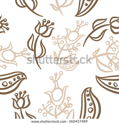 Pattern, doodles,ellipses, floral, branches, leaves, stamens, seamless. Hand drawn.