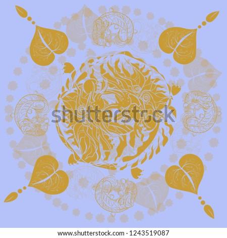 pattern eastern golden dragons