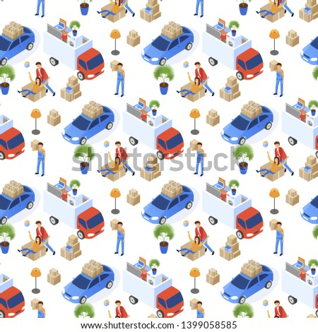 Pattern Easy Moving Vector Illustration Isometric. Uniformed Transportation Staff Carry Cardboard Boxes. Loading Household Items and Household Appliances. Man and Woman are Happy with Move.