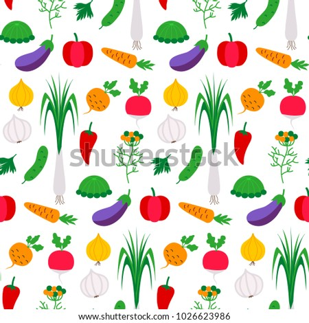 Pattern flat with vegetables. Vector illustration of different food products on white.  #1026623986